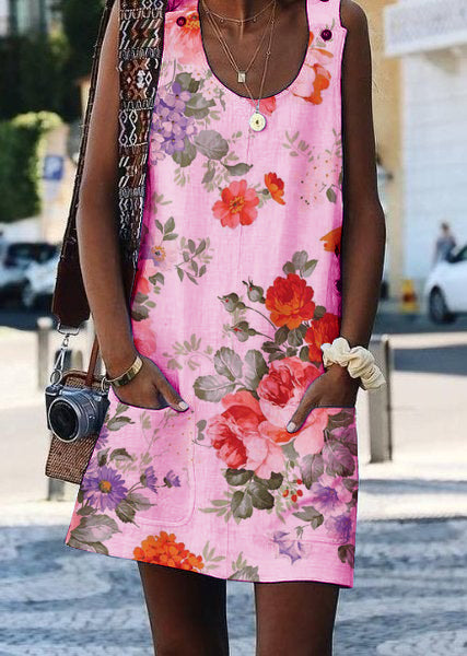 Crew Neck Casual Floral-Print Sleeveless Dresses