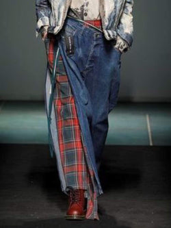 Casual Denim Checkered/plaid Paneled Skirts