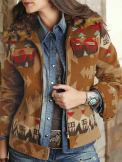 Khaki Tribal  Shift Long Sleeve Outerwear