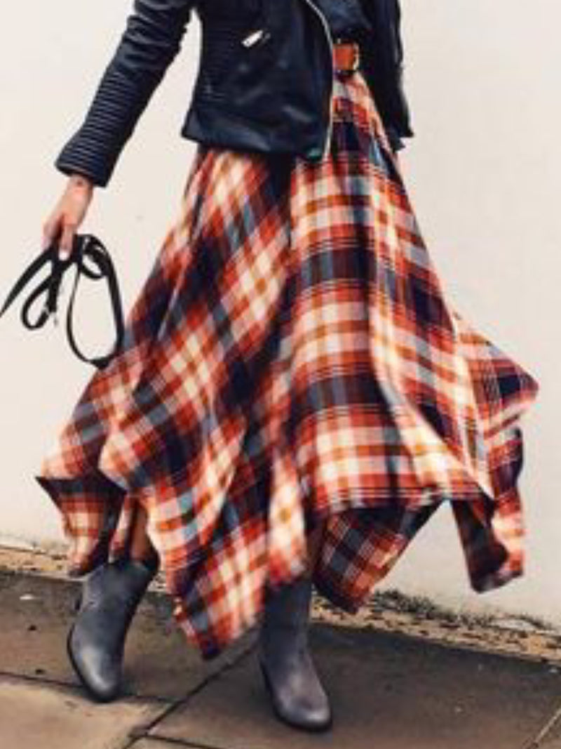 Swing Casual Checkered/plaid Skirts