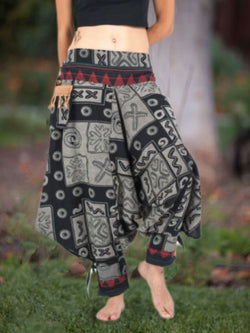 Gray Tribal Casual Floral-Print Pants