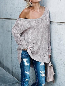 Pink-Gray Knitted Long Sleeve Solid Shift Shirts & Tops