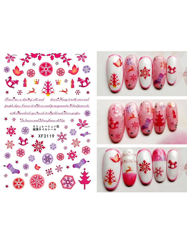 1000+ Patterns Christmas Nail Art Stickers Decals for Women Kids