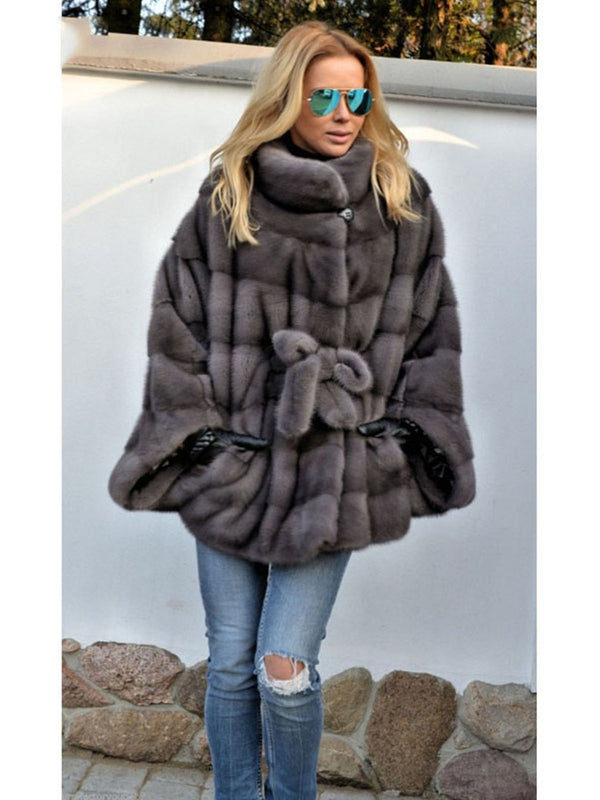 Plus Size Bats Sleeveless Faux Fur Leather Winter Parka Coat