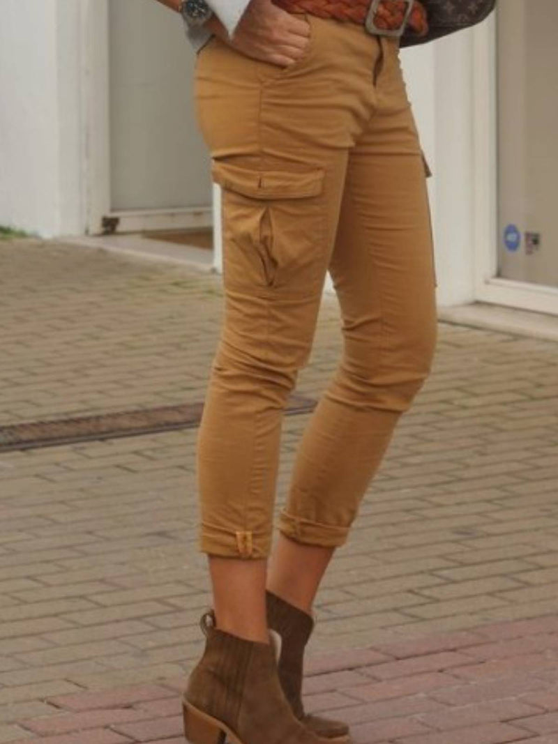 Yellow Plain Casual Pants