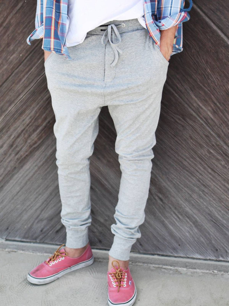 Gray Casual Plain Cotton Pants