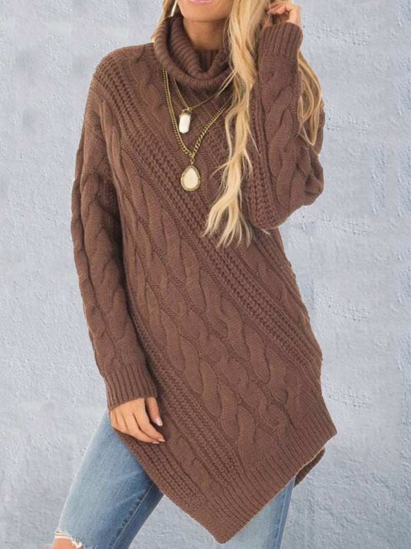 Coffee Asymmetrical Casual Acrylic Plus Size Sweater