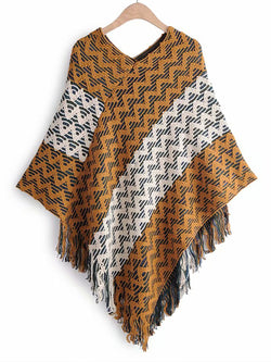 Shawl Knitted Cape Tassel Knit Cloak Large Size Geometric Sweater