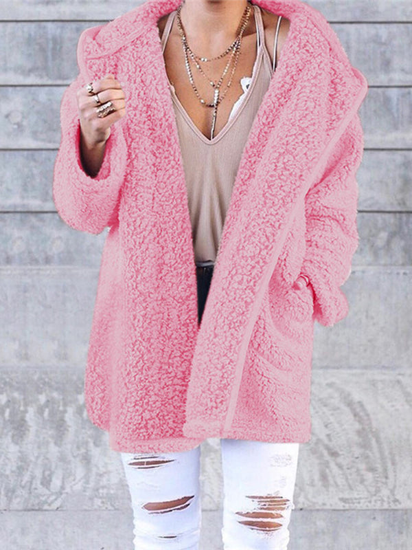 Women Cashmere Sherpa Coat Warm Teddy Bear Coats With Hoodie