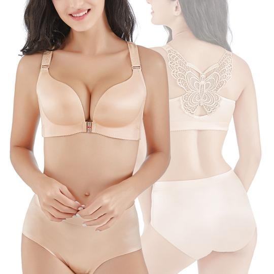BHBra Butterfly Embroidery Front Closure Wireless Adjustable Gather Soft Thin Bra Sets Summer Style Gray