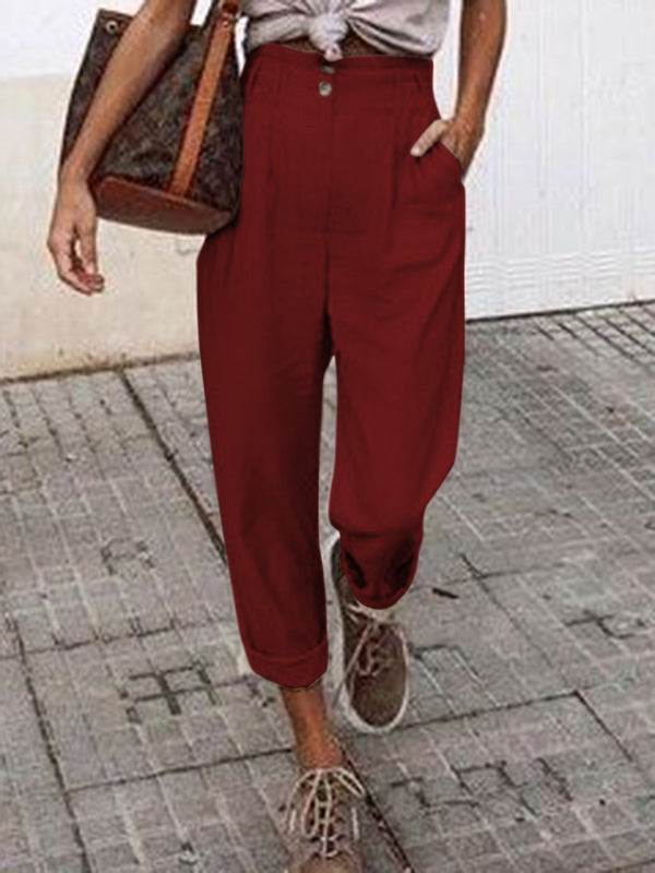 Plus Size Pockets Solid Shift Casual Pants