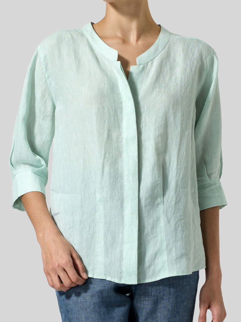 Plus Size V-Neck 3/4 Sleeves Casual Blouses