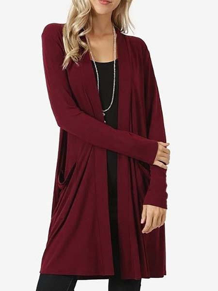 Solid Long Sleeve Basic Cardigan