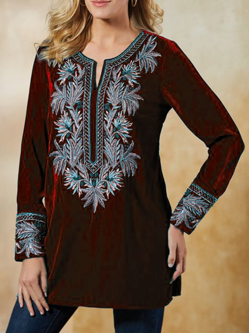 Embroidery Long Sleeve Cotton Tops