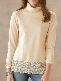 Beige Patchwork Long Sleeve Round Neck Sweatshirt