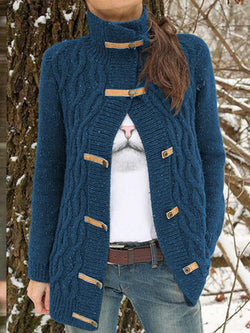 Women Buttoned Solid Vintage Sweater Cardigan