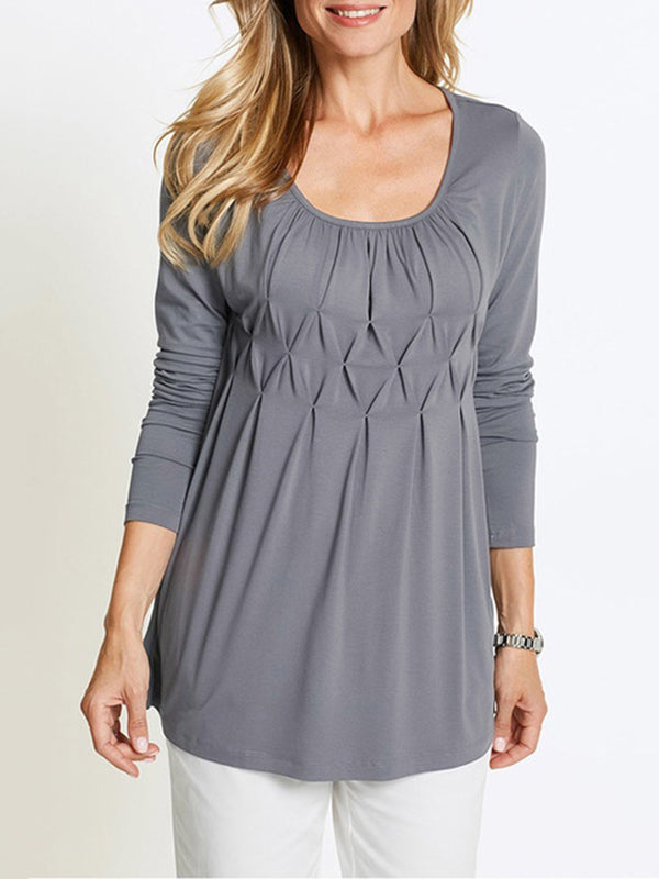 3/4 Sleeve Casual Crew Neck Folds Solid Blouse