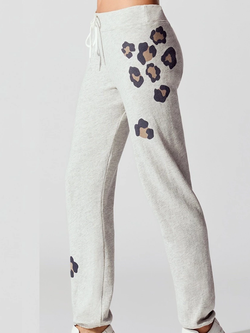 Grey Leopard Print Shift Casual Pants
