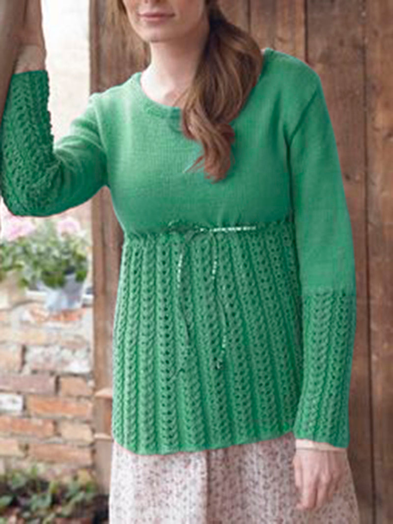 Crew Neck Long Sleeve Paneled Knitted Sweater