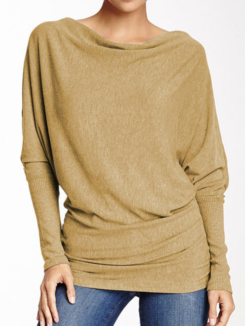 Batwing Long Sleeve Solid Comfort T-Shirts