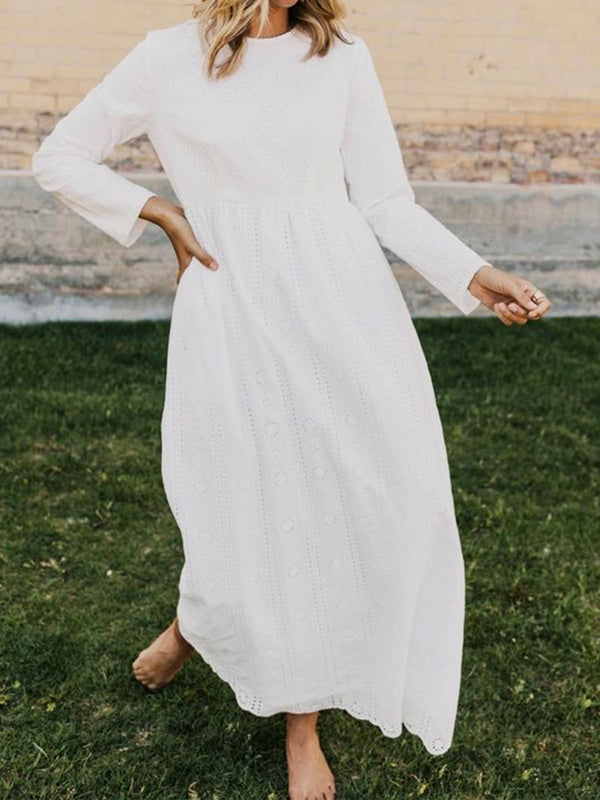 White Cotton-Blend Long Sleeve A-Line Holiday Dresses