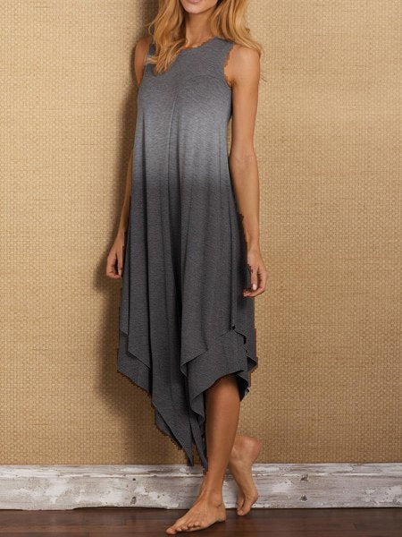 Sleeveless Cotton-Blend Crew Neck Casual Dresses