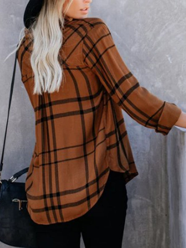 Women V-Neck Plaid Long Sleeve Casual Blouse