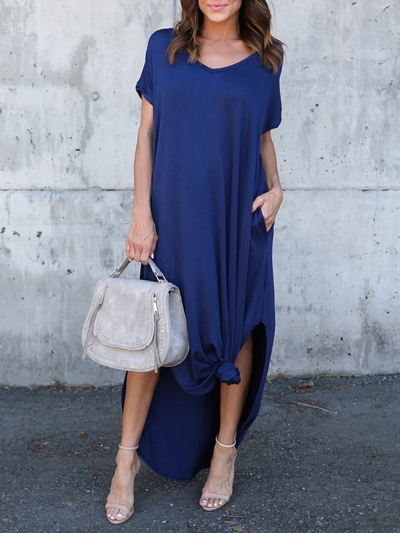 Casual Solid Slit Short Sleeve Crew Neck Maxi Dress