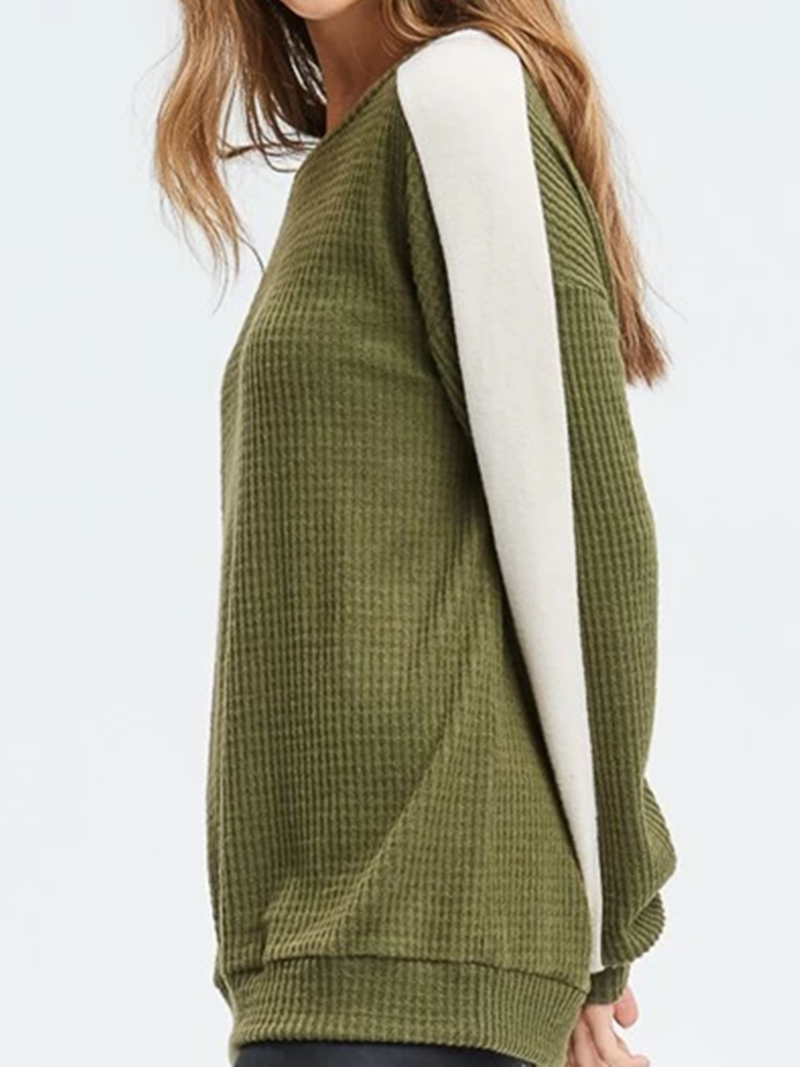 Green White Casual Patchwork Sweater