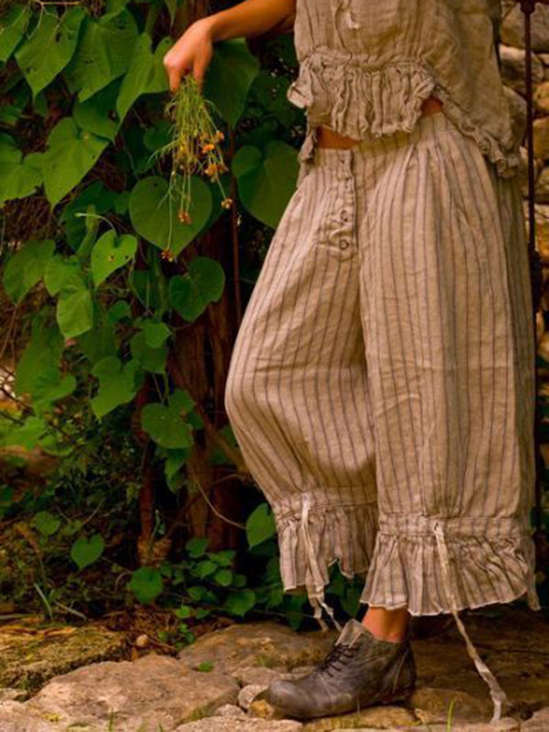 Women Cotton-Blend Striped Pants