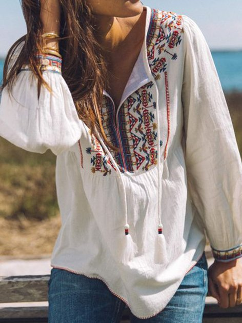 White Tribal V Neck Long Sleeve Embroidered Shirts & Tops