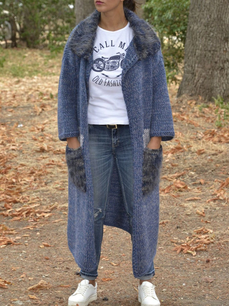 Blue Plain Cotton-Blend Casual Outerwear