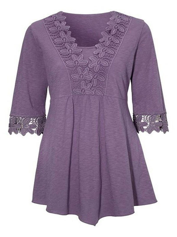 Lace V Neck Half Sleeve Blouse