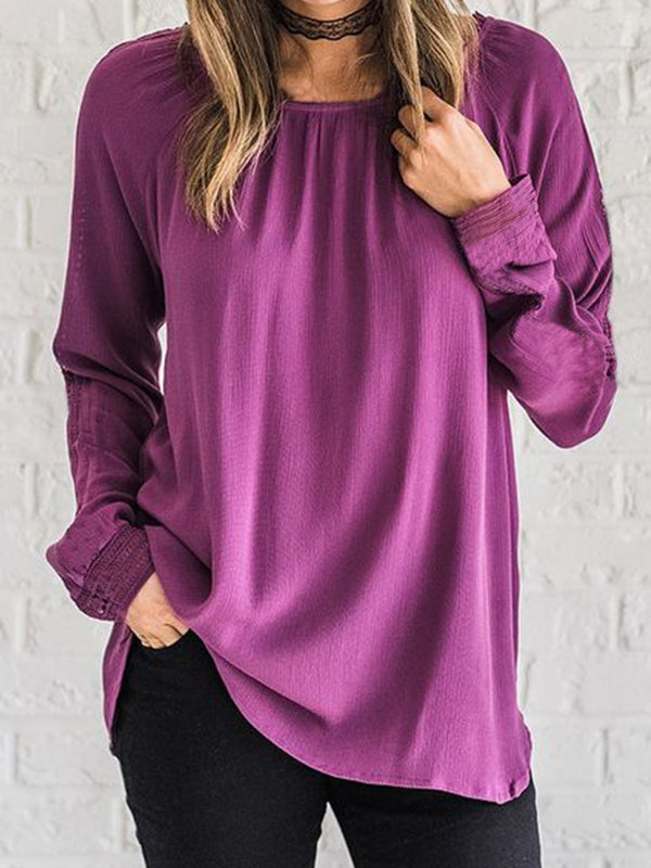 Purple Cotton-Blend Crew Neck Long Sleeve Shirts & Tops