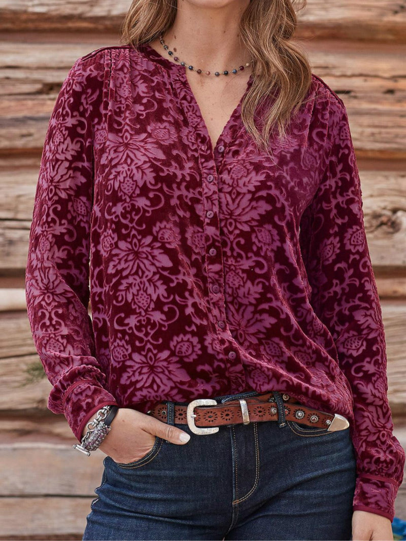 Red Long Sleeve Velvet V Neck Shirts & Tops