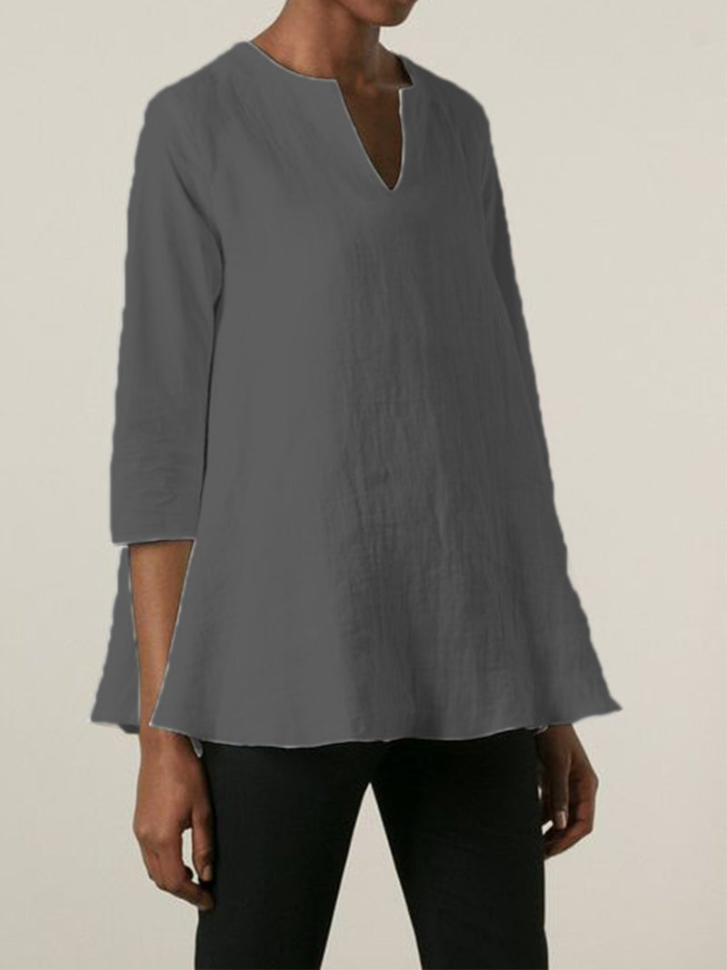 Women Solid Gray Accessories Linen All Season Simple & Basic Shirts