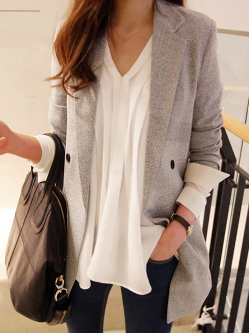 Gray Lapel Vintage Solid Outerwear