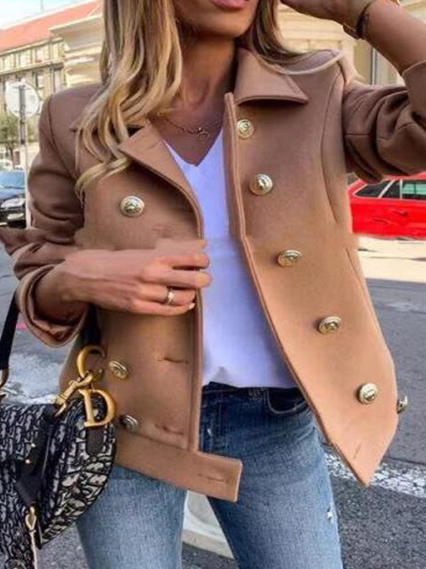 Women Double-breasted Solid Vintage Coats