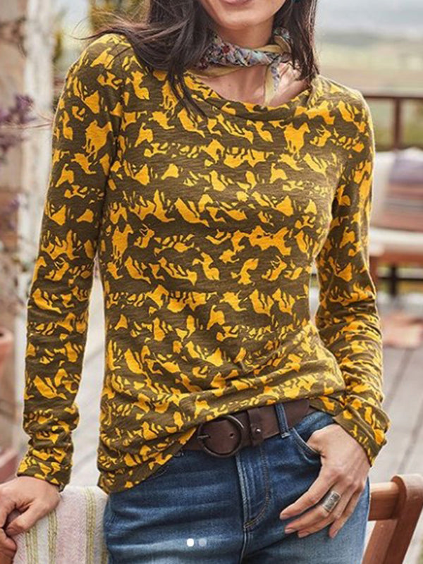 Yellow Cotton-Blend Long Sleeve Crew Neck Shirts & Tops