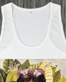 Women White Sleeveless U-Neck Shirts & Tops