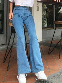 Casual denim flare trousers