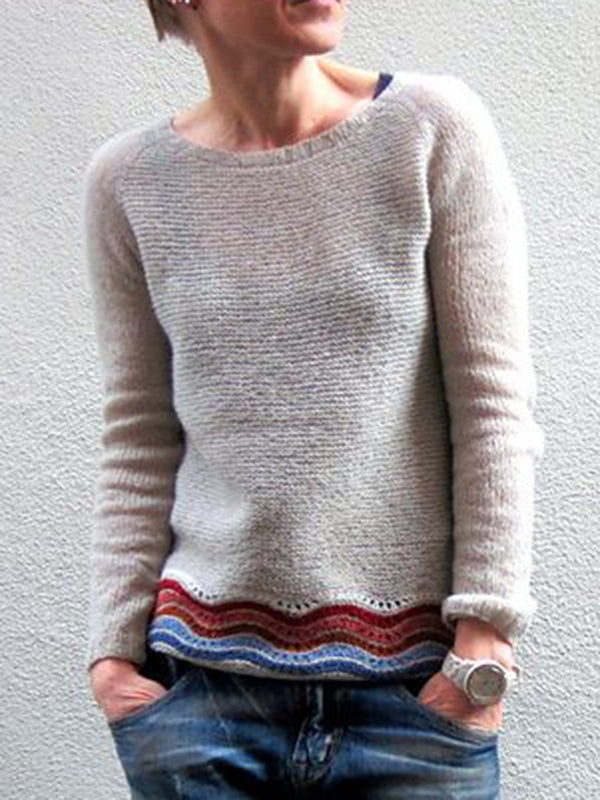 Beige Plain Crew Neck Long Sleeve Sweater