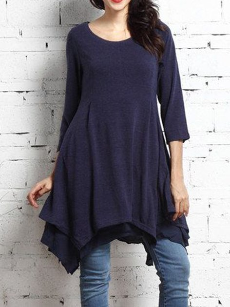 Deep Blue Casual Knitted Crew Neck Dresses