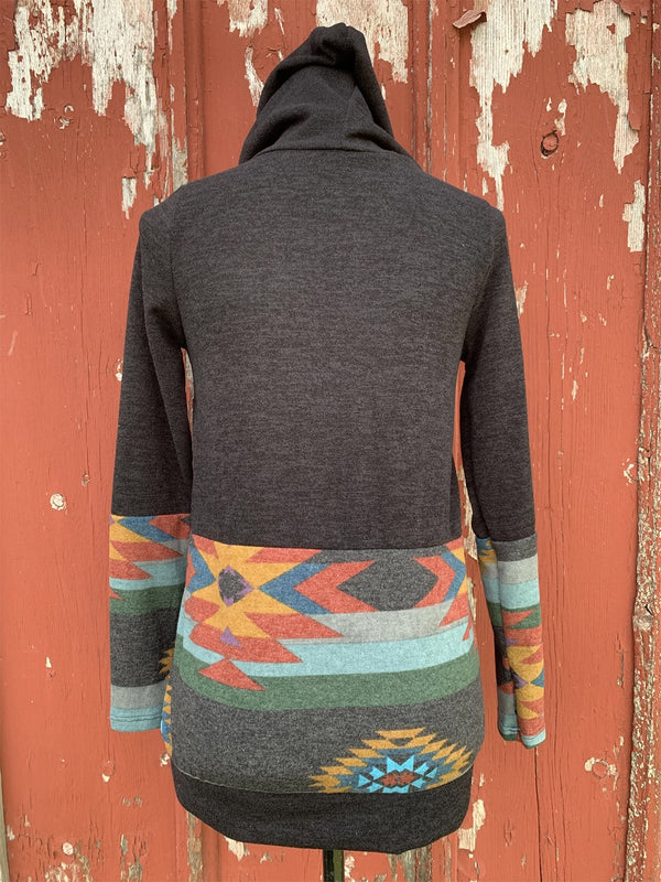 Vintage pattern stitching hooded sweater