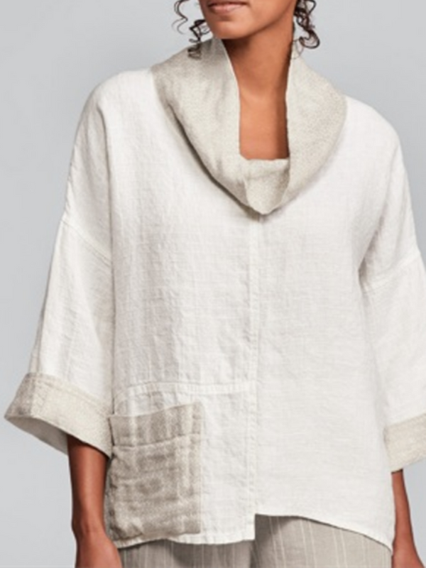 White 3/4 Sleeve Plain Shift Linen Shirts & Tops