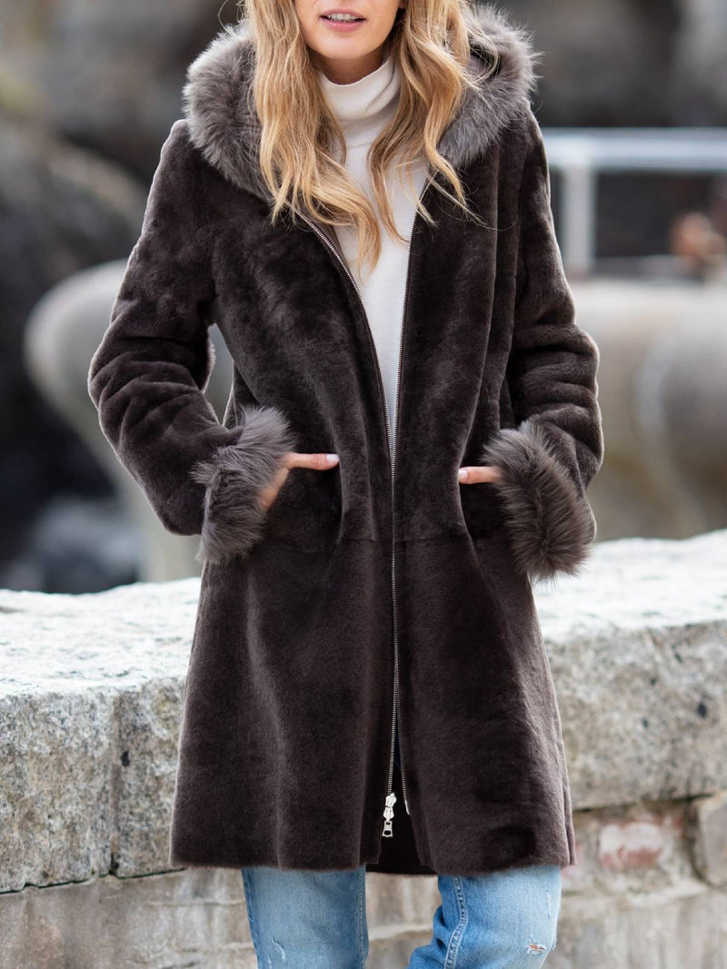 Deep Gray Long Sleeve Faux Fur Plus Size Warm Coat