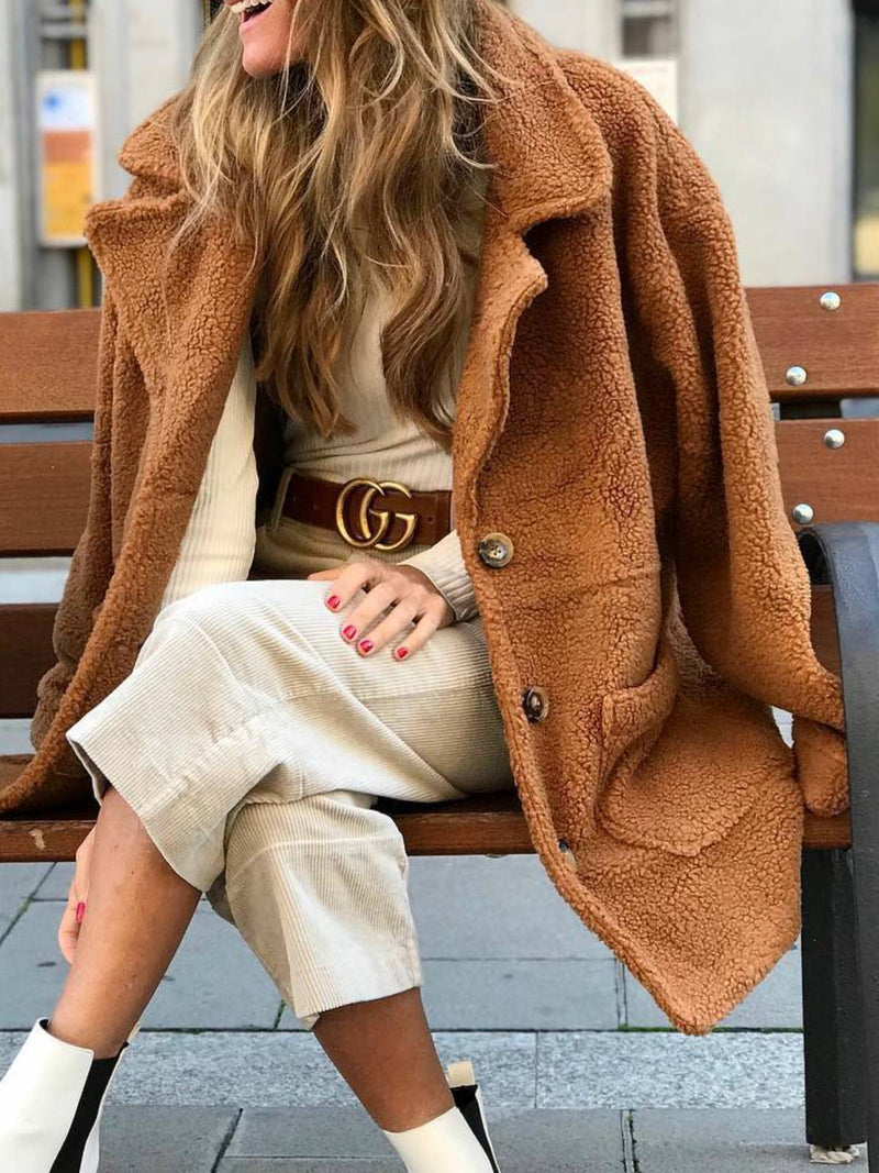 Khaki Long Sleeve Shawl Collar Cashmere Plus Size Fluffy Warm Coat
