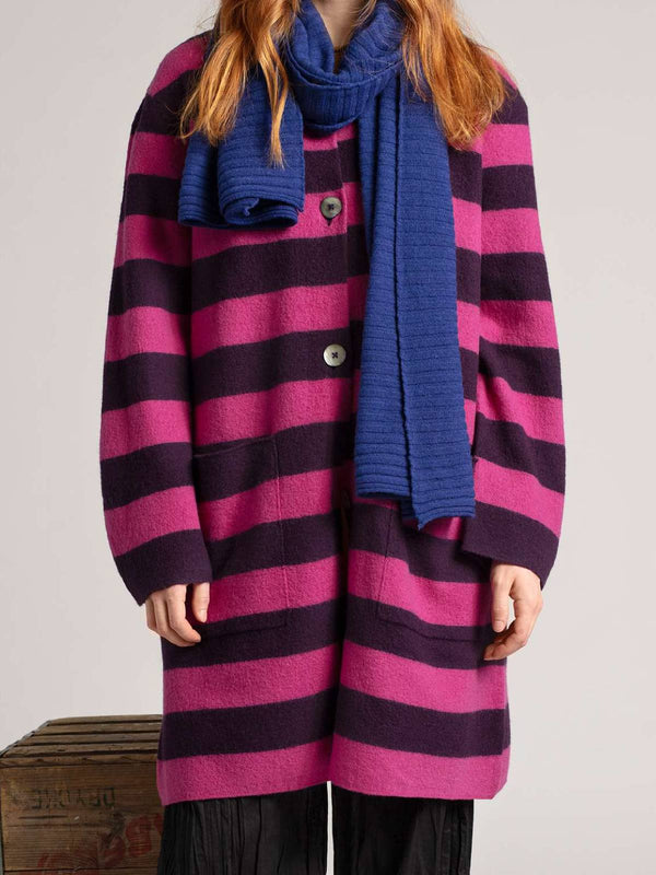 Fuchsia Crew Neck Knitted Long Sleeve Plus Size Cardigan