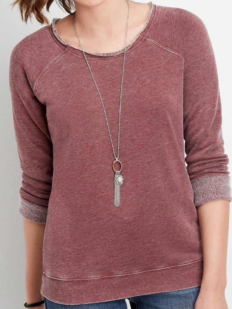 Red Cotton-Blend Plain Crew Neck Long Sleeve Shirts & Tops