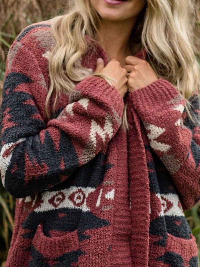 Red Crew Neck Long Sleeve Cotton-Blend Geometric Plus Size Cardigan